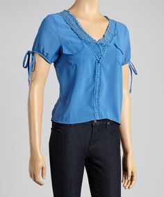 Loving this Blue Crochet V-Neck Top on #zulily! #zulilyfinds