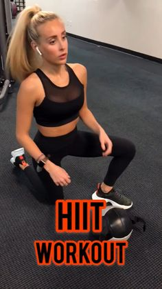 HIIT workout you can do at home or at the gym. This fat burning workout combines weights and your full body. Beginners or advanced gym goers can do it. Hiit Workout Videos, Fitness Workouts, Hiit Workouts At Gym, Hiit Workouts With Weights, Hiit Workouts For Beginners, Hitt Workout, Hiit Workout At Home, Gym Fitness, Tabata
