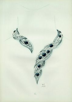 Necklace 19.. (Cartier) Archive Document Cartier Necklace, Cartier Jewelry, Jewelery, High Jewelry, Jewelry Art, Jewelry Design Drawing, Jewelry Illustration, Jewellery Sketches, Sea Glass Jewelry