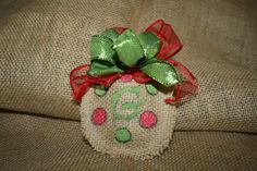 Stuffed Burlap Christmas Ornament with painted Lime Green and Red Dots. Has Sheer Red Ribbon and Lime Green Ribbon. Burlap Christmas Ornaments, Christmas Crafts, Christmas Stuff, Christmas Ideas, Burlap Projects, Burlap Crafts, Country Crafts, Country Decor, Burlap Door Hangers
