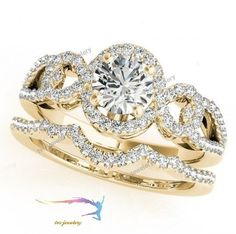 Ladies 14k Yellow Gold Round DVVS1 Diamond Halo Style Engagement Bridal Ring Set #tvsjewelery