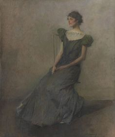 Thomas Wilmer Dewing, Lady in Green and Gray, 1911, Oil on canvas  61.3 x 50.8 cm (24 1/8 x 20 in.)