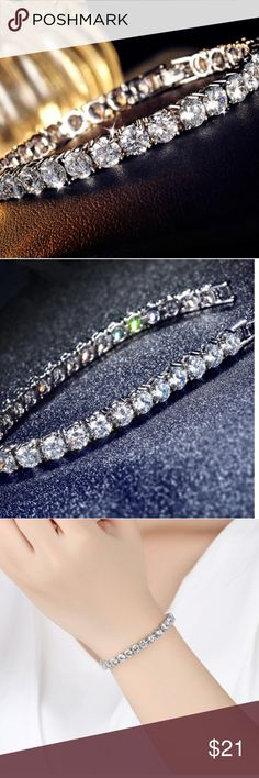 """🆕️Stunning Tennis Bracelet This is always in style.  A classic. Silver with cz. Will fit up to a 7 1/2 """" wrist. Just beautiful Jewelry Bracelets"""