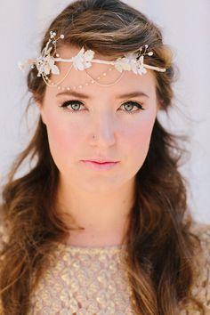 Sophia Bridal Headband Silk Leaves Rhinestones Pearls by LoBoheme, $148.00