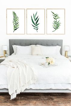 Set of 3 Palm Leaves print watercolor painting nature