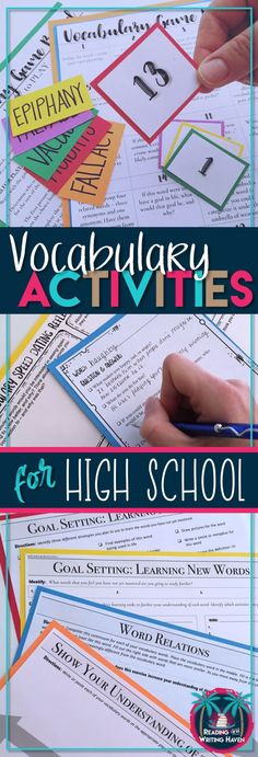 Engaging vocabulary activities for high school students that focus on brain-based approaches and student-centered learning. Help high school students retain new word meanings. Great for any Tier 2 word list. Speed dating, continuum, and game included. Reading and Writing Haven #vocabulary #vocabularyactivities