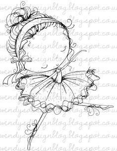 Abi Ballerina by alldressedupstamps on Etsy Adult Coloring Pages, Coloring Books, Envelope Art, Digi Stamps, Fabric Painting, Nursery Art, Rock Art, Cute Drawings, Creative Art