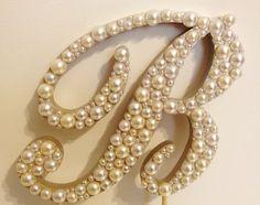 Script Pearl Monogram Cake Topper - White or Ivory Pearls. $32.50, via Etsy.