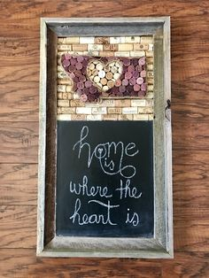 Montana wine cork board and chalkboard in a barnwood frame | Home is where the heart is | rustic home decor | True North Crafts by Holly