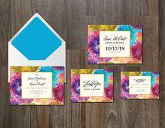 Wedding Invitation Suite flowers. Watercolor Flowers