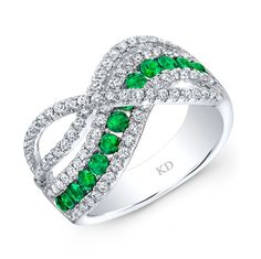HIGH QUALITY NATURAL COLOR 18K WHITE GOLD CONTEMPORARY RD EMERALD WAVE DIAMOND BAND EMBEDDED WITH ROUND WHITE DIAMONDS, FEATURES 1.20 CARAT TOTAL WEIGHT