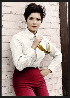 Portrait of actress Linda Thorson, star of 'The Avengers' television series, leaning against a wall wearing a tailored shirt and trousers, circa Get premium, high resolution news photos at Getty Images Avengers Women, Avengers Girl, New Avengers, Linda Thorson, Tara King, Gal Gabot, Avengers Series, Joanna Lumley, Emma Peel