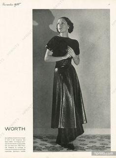 Worth 1935 Taffetas double face, Longue tunique en forme, Rouge sur fond noir