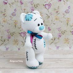 Patrón de ganchillo Teddy Bear gratis de Amigurumi Today Crochet Amigurumi Free Patterns, Crochet Animal Patterns, Stuffed Animal Patterns, Crochet Animals, Crochet Dolls, Doll Patterns, Crochet Teddy Bear Pattern Free, Crochet Crafts, Crochet Clothes