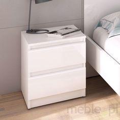 Szafka nocna Naia biała wysoki połysk - biały Filing Cabinet, Washing Machine, Home Appliances, Storage, Furniture, Home Decor, Nightstand, Bedroom, House Appliances