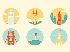 First draft of some SF architectural landmark icons. Critiques welcome and appreciated! Final icons to be printed on a canvas tote bag.