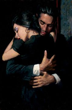 The Embrace II by Fabian Perez © 2014. Fabian brings romance to pieces which are sensuous and atmospheric, the panache of his male portraits complementing the sombre seduction of the women in his paintings. There are influences of Lautrec, Picasso, Sargent and Cézanne in his work, but ultimately the Argentinian artist has a style all his own.
