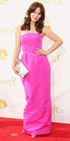 Emmy Awards 2014 Red Carpet Photos - Zooey Deschanel in Oscar de la Renta
