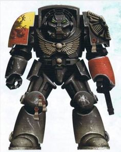 Veteran Brother Xaran wearing elite Terminator Armour in distinctive Codex-approved Night World Camouflage Pattern.