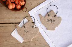 Set of 2 salt dough Coffee and Tea pots hanging decoration, Kitchen wall hanging ornament, Kittle kitchen decorations, Coffee shop decor. by BRsaltycandy on Etsy