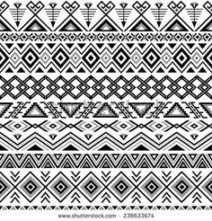 Ethnic seamless pattern. Aztec black-white background. Tribal, ethnic, navajo print. Modern abstract wallpaper. Vector illustration. - stock vector