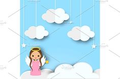 Cute angel on clouds background by Bunny's Little Shop on @creativemarket