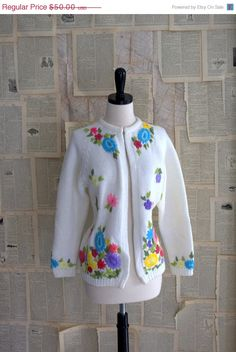 "1960s Embroidered ""Garden Party"" Sweater Cardigan $40.00"