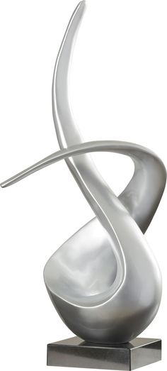 Features:  -Silver matte finish.  -Mounted on base.  Product Type: -Sculpture.  Style: -Contemporary.  Subject: -Abstract and shapes.  Finish: -Silver.  Primary Material: -Resin.  Age Group: -Adult.