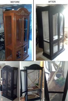 an old Curio Cabinet into a custom reptile enclosure to look more appealing to the home and not just some rectangular cage.Turning an old Curio Cabinet into a custom reptile enclosure to look more appealing to the home and not just some rectangular cage. Reptile Cage, Reptile Habitat, Reptile Room, Lizard Habitat, Chameleon Enclosure, Snake Enclosure, Bartagamen Terrarium, Terrarium Reptile, Lizard Cage