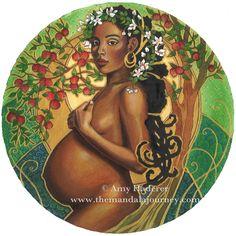 Original motherhood artwork from artist Amy Haderer Gold Paint, Metallic Paint, Birth Art, Summer Glow, Summer Solstice, Colored Pencils, Original Artwork, Disney Characters, Fictional Characters