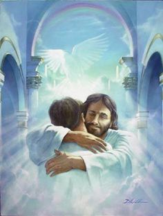 """Have you ever had a """"Jesus hug"""", Do you know what one feels like? If you've never had a """"Jesus hug"""", I pray one day you might. A """"Jesus hug"""" is different, As far as hugging goes; It's a little taste of Heaven, Here on earth below. Braut Christi, Akiane Kramarik Paintings, Image Jesus, Poster Print, Art Print, Jesus Pictures, Heaven Pictures, Jesus Pics, Heaven Images"""