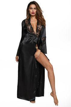 Harlow is a black floor length satin, sheer and lace robe. The gorgeous lace trimmed robe has a fitted waist and self belt closure with an elegant flair. The robe has a full sweep to the hem of the robe, offering even more luxury. Satin Lingerie, Plus Size Lingerie, Lingerie Set, Romwe, Peignoir, Satin Cami, Bodysuit, Kimono, Beautiful Lingerie