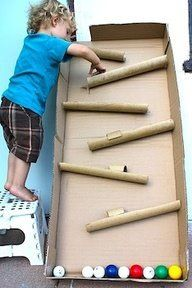 Marble Run! Built out of cardboard and paper towel/toilet paper rolls! Make 2 so kids can do races!