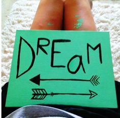 DIY canvas painting. Dorm decor. Dream arrow