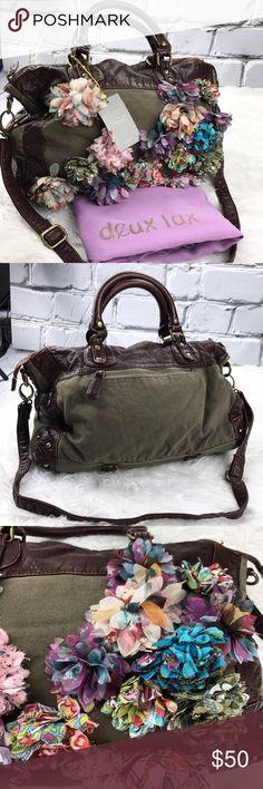 "💕SALE💕Anthropologie Green & Leather Floral Bag Gorgeous NWT Unique Anthropologie Green & Leather Floral Bag 17""W X 11""H Anthropologie Bags"