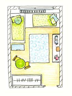Dormitorio infantil (Plano) De planta rectangular con dos camas y zona de juegos