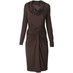 RAXEVSKY Monique Brown Wrap Dress ($82) ❤ liked on Polyvore