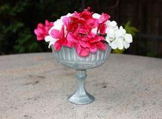 Matte Grey Vase Pedestal Vase Matte Silver by PeonyAndPetunia