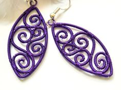 purple woven wire earringswire wrapped by TaniHandmade on Etsy Wire Jewelry, Jewelry Art, Jewellery, Earrings Handmade, Handmade Jewelry, Unique Jewelry, Handmade Art, Handmade Gifts, Shops