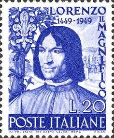 Emesso il 4 agosto 1949 20 L. - Ritratto di Lorenzo il Magnifico