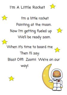 space unit for preschool - poem we can all recite- circle time- could put image up on smartboard- add visuals under the words and point as we sing it