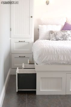 Built-in Wardrobes and Platform Storage Bed. Great way to keep clothes and linens organized and out of sight!