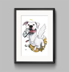 Angel dog custom caricature portrait