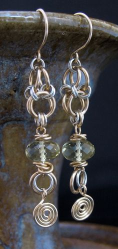 Long Dangly Mixed Metals Chainmail Earrings by LoneRockJewelry