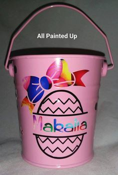 Tin buckets make perfect easter bucket collectors for the big Easter Hunt. Great for small hands to hold and so cute. Customised with a name.    I have lots of colours and have just put a couple of designs. These are the ones you can choose from. If you would like a random design just message me and you'll a bucket with a design that's not listed here.    These little tin buckets are approx. 10cm plus handle        **** IMPORTANT **** This item is customised. It is important you enter text…