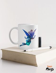 tinkerbell mug fairy watercolour Mug Funny mug Gift  by HuppyMugs
