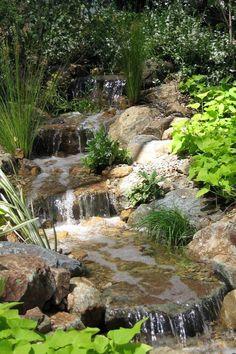 Water features waterfall backyard waterfalls and streams пру Backyard Water Feature, Ponds Backyard, Backyard Stream, Backyard Waterfalls, Pond Landscaping, Landscaping With Rocks, Garden Stream, Landscape Design, Garden Design