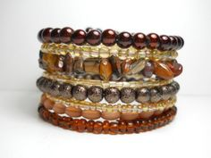 Tigers Eye Brown and Tan Memory Wire Bracelet Stacked Wrap Bracelet | Wrapped and Snapped