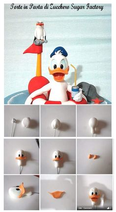 Donald Duck Tutorial for Fondant, Sugarpaste or Polymer Clay