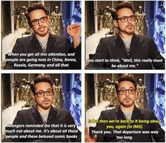 "In which RDJ is literally Tony Stark. There's zero difference. | ""Genius, billionaire, play-boy, philanthropist."""